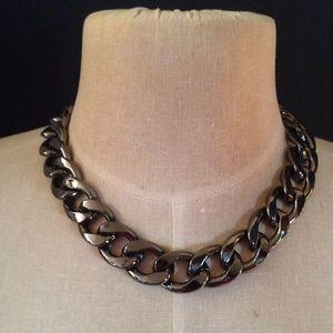 Jewelry - Heavy Curb Link Gunmetal Necklace Earring Set